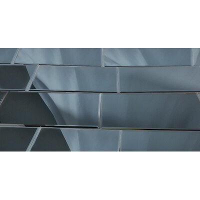 Echo 8 x 16 Mirror Glass Subway Tile in Graphite