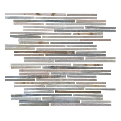 Random Sized Thin Linear Stone Subway Tile in Desert Gray
