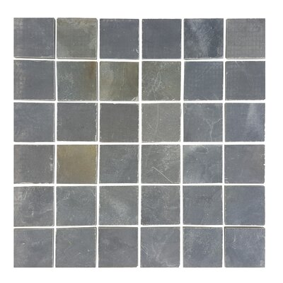 1.87 x 1.87 Stone Mosaics Tile in Dark Silver Dust