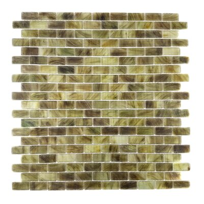 Amber 0.63 x 1.25 Glass Mosaic Tile in Gray Brown