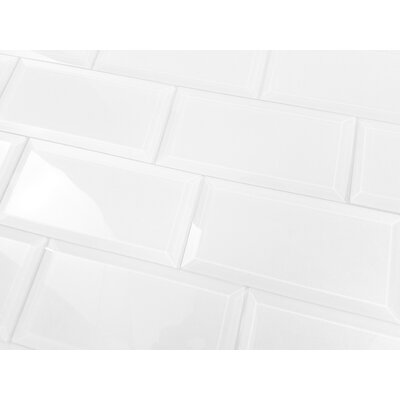Frosted Elegance 3 x 6 Glass Subway Tile in Glossy White