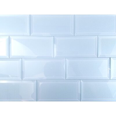 Frosted Elegance 3 x 6 Glass Subway Tile in Glossy Blue