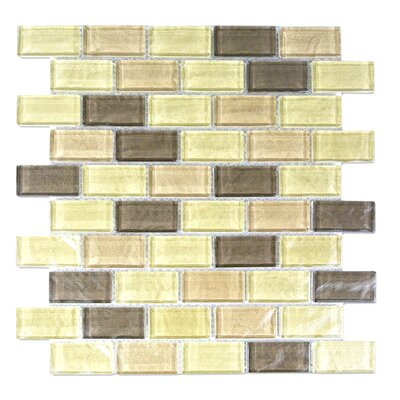 Geo 1 x 2 Glass Mosaic Tile in Light Brown