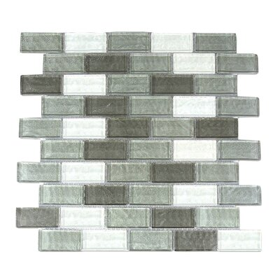 Geo 1 x 2 Glass Mosaic Tile in Gray
