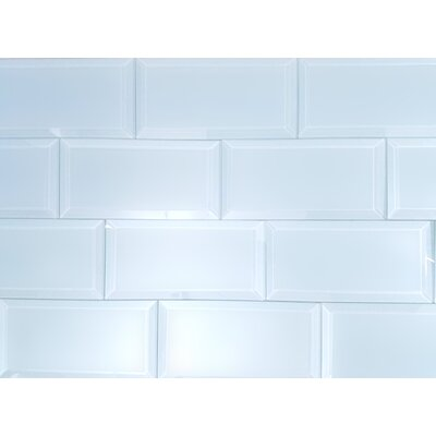 Frosted Elegance 3 x 6 Glass Subway Tile in Matte Blue