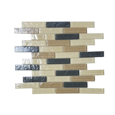 Geo 1 x 4 Glass Mosaic Tile in Brown Amazonia