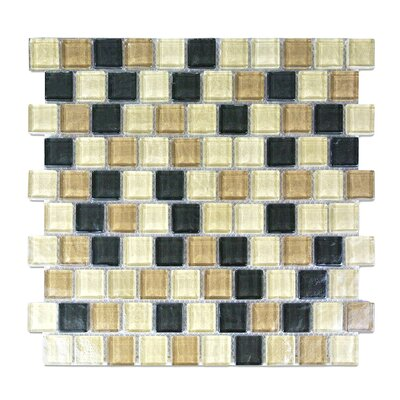 Geo 1 x 1 Glass Mosaic Tile in Brown Amazonia