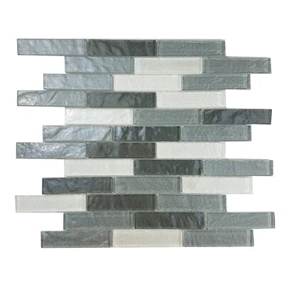Geo 1 x 4 Glass Mosaic Tile in Gray