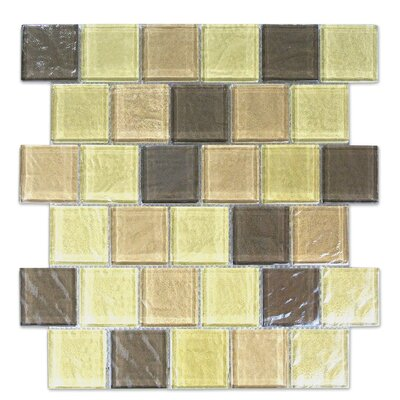 Geo 2 x 2 Glass Mosaic Tile in Light Brown