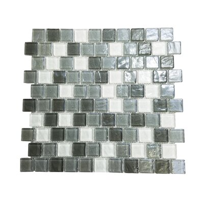 Geo 1 x 1 Glass Mosaic Tile in Gray