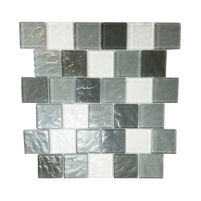 Geo 2 x 2 Glass Mosaic Tile in Gray
