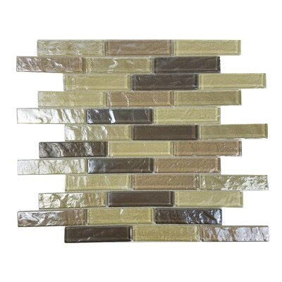 Geo 1 x 4 Glass Mosaic Tile in Light Brown