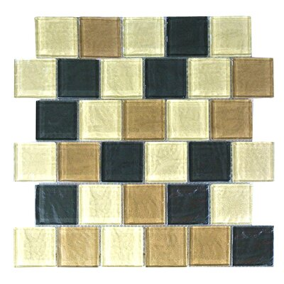 Geo 2 x 2 Glass Mosaic Tile in Brown Amazonia