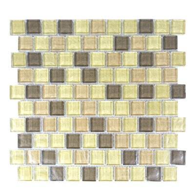 Geo 1 x 1 Glass Mosaic Tile in Light Brown