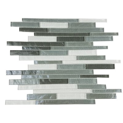 Geo Random Sized Glass Mosaic Tile in Gray