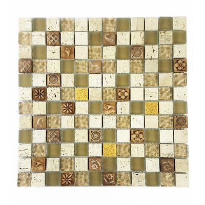 Monarchy 1 x 1 Glass and Stone Mosaic Tile in Tuvalu