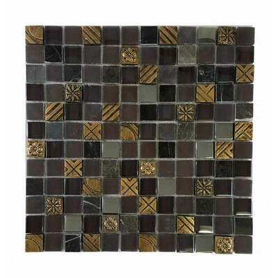 Monarchy 1 x 1 Glass and Stone Mosaic Tile in Antigua