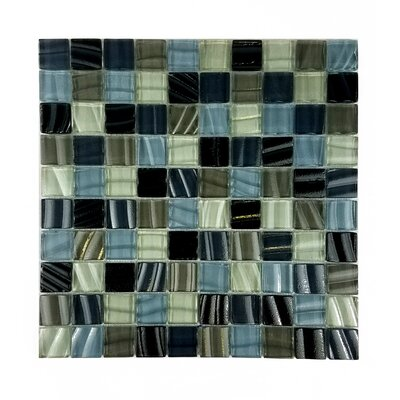 New Era 1.25 x 1.25 Glass and Slate Mosaic Tile in Brown Beach Sand