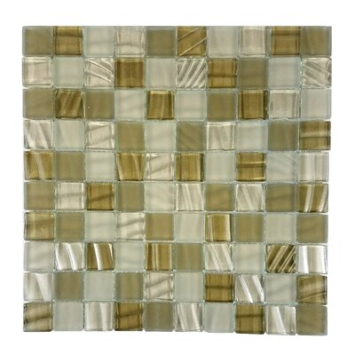 New Era 1.25 x 1.25 Glass and Slate Mosaic Tile in Glazed Sugar cane