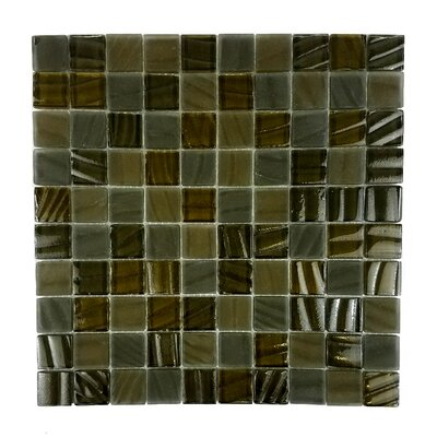 New Era 1.25 x 1.25 Glass and Slate Mosaic Tile in Brown Grizzly Bear