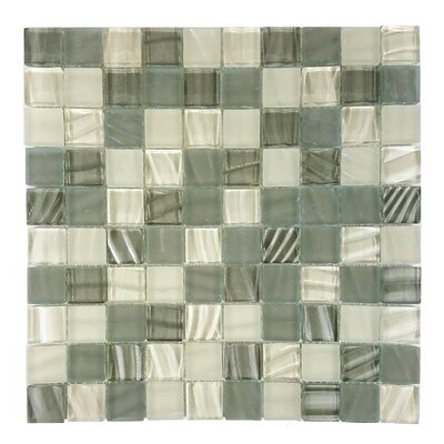New Era 1.25 x 1.25 Glass and Slate Mosaic Tile in Glazed Khaki