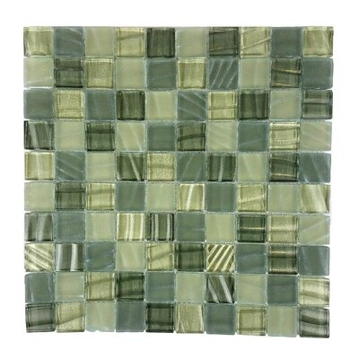 New Era 1.25 x 1.25 Glass and Slate Mosaic Tile in Gray Camouflage