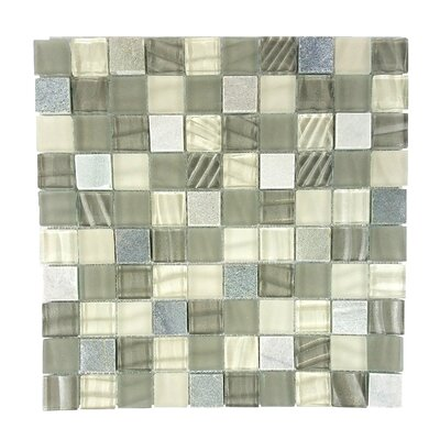New Era II 1.25 x 1.25 Glass Mosaic Tile in Shell Gray