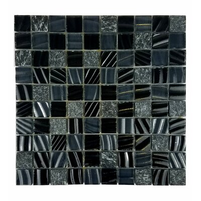New Era II 1.25 x 1.25 Glass Mosaic Tile in Black Hole