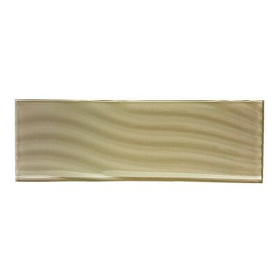 Pacific 4 x 11.75 Glass Wood Tile in Light Brown