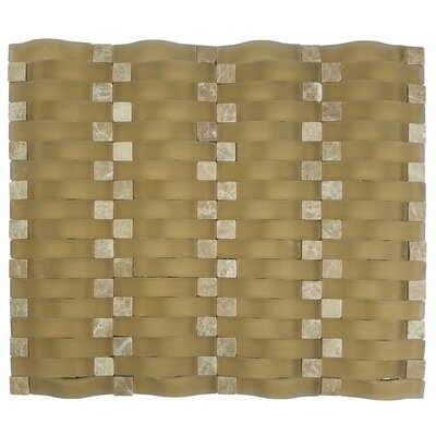 Wave 0.63 X 2.5 Glass Mosaic Tile in Beige Matte