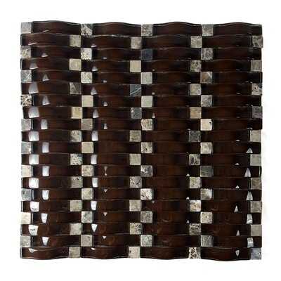 Wave Random Sized Glass Mosaic Tile in Glazed Marrone