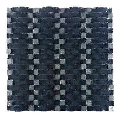 Wave Random Sized Glass Mosaic Tile in Dark Gray