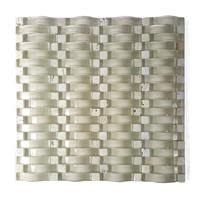 Wave 0.63 x 2.5 Glass Mosaic Tile in Beige