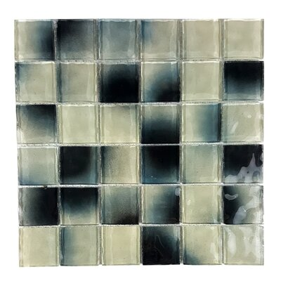 Watermarks 2 x 2 Glass Mosaic Tile in Black/White
