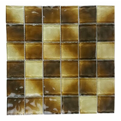 Watermarks 2 x 2 Glass Mosaic Tile in Beige