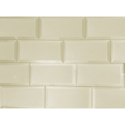 Frosted Elegance 3 x 6 Glass Subway Tile in Glossy Creme