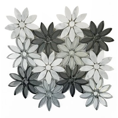 Flower Fusion 4 x 4 Marble/Glass Tile in Gray/Silver