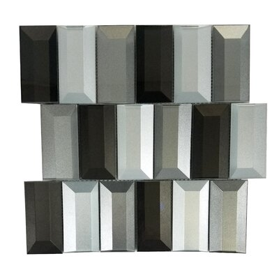 Illusion 2x 4 Glass Backsplash Tile in Glossy Silver/Gray