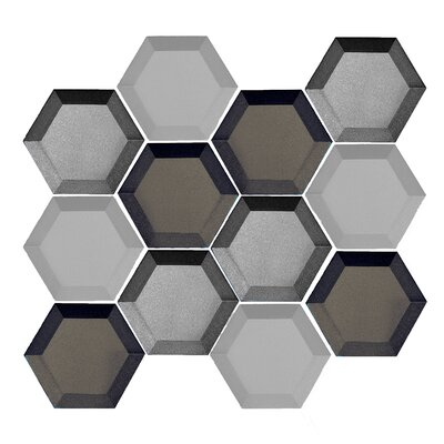 Illusion 3x 3 Glass Mosaic Tile in Gray/Silver
