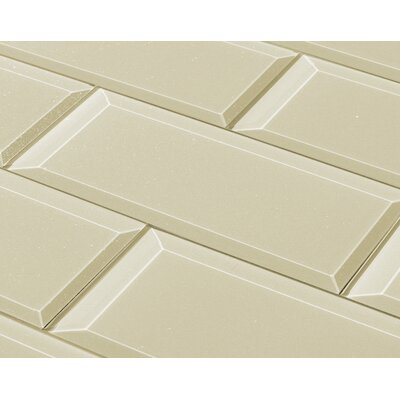 Frosted Elegance 3 x 12 Glass Subway Tile in Glossy Creme