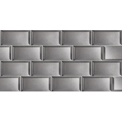 Secret Dimensions 3 x 6 Glass Subway Tile in Glossy Silver