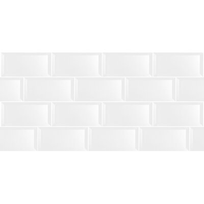 Secret Dimensions 3 x 6 Glass Subway Tile in Glossy White