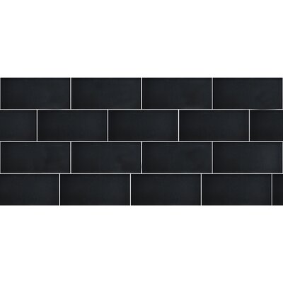 Secret Dimensions 3 x 6 Glass Subway Tile in Glossy Dark Gray