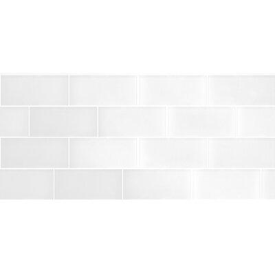 Secret Dimensions 3 x 6 Glass Subway Tile in Dark White