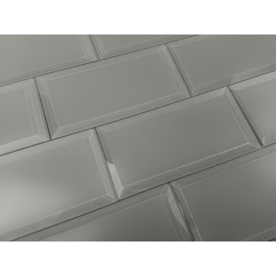 Frosted Elegance 3 x 6 Glass Subway Tile in Matte Gray