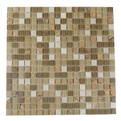 Crystal Stone 0.63 x 0.63 Glass Mosaic Tile in Glazed Amber Grain