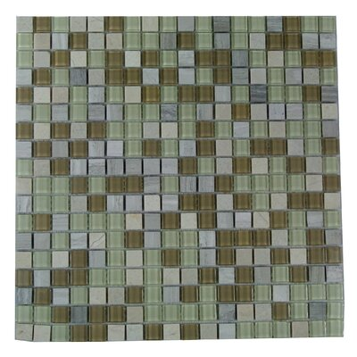 Crystal Stone 0.63 x 0.63 Glass Mosaic Tile in Beige Mix