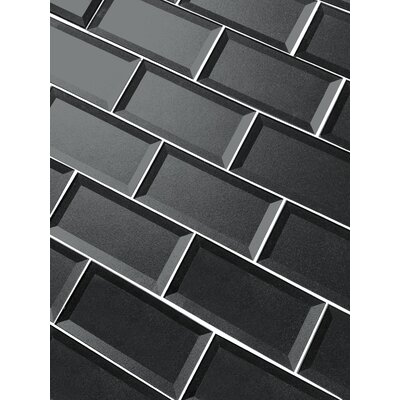 Secret Dimensions 3 x 6 Glass Subway Tile in Glossy Gray