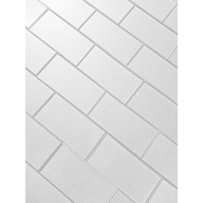 Secret Dimensions 3 x 6 Glass Subway Tile in Dark White