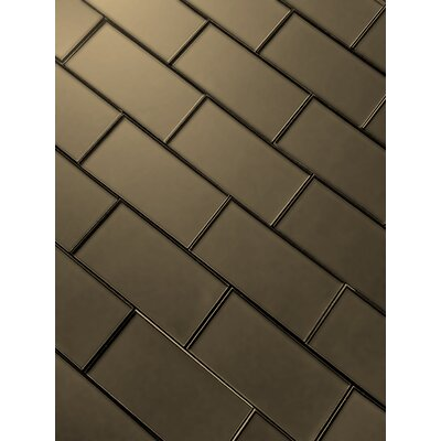 Secret Dimensions 3 x 6 Glass Subway Tile in Frosted Bronze